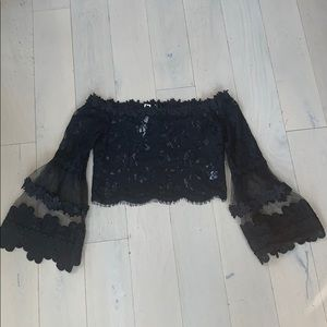 NWT Lace Off The Shoulder Bell Sleeve Crop Top